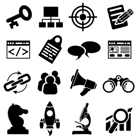 Search Engine Optimization (SEO) Icon Set. Vector isolated on white background. Vector