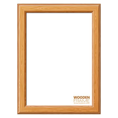 marco madera: Marco de madera de tamaño A4 para la foto o fotos, aislados en fondo blanco. Ilustración del vector.