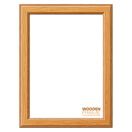 Wooden Frame Size A4 for Photo or Pictures, isolated on white background. Vector Illustration.