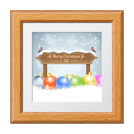 Christmas background with Wooden Plaque, Bullfinches and Bauble in Wooden Frame. Vector Template for Cover, Flyer, Brochure. Vector
