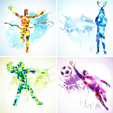 arquero de futbol: Set Siluetas del jugador de fútbol con el trofeo, ganador, Jugador de fútbol americano y Portero en Modelo de mosaico y aficionados en el fondo del grunge.