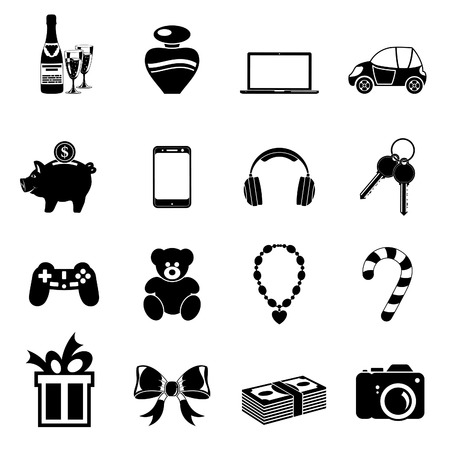 christmas perfume: Set Christmas Gifts Icons with Jewels, Smartphone, Perfume. Vector isolated on white background.