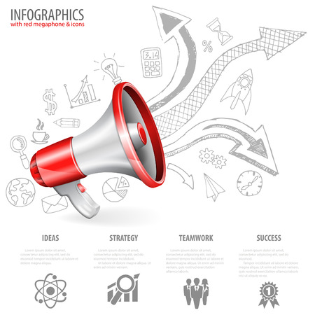 loud speaker: Megaphone isolated on white background with Arrows and Business Hand Drawn Icons. You can change the color in one click. Vector illustration. Illustration