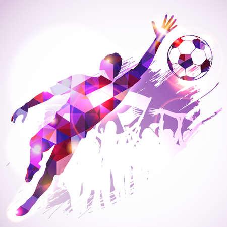 arquero: Jugador de f�tbol de la silueta Portero y aficionados en mosaico patr�n en el fondo del grunge, ilustraci�n vectorial.