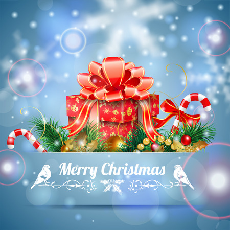 Christmas Background with Candy, Fir Branches, Mistletoe and Gift in Pocket on Bright background, vector illustration. Vector