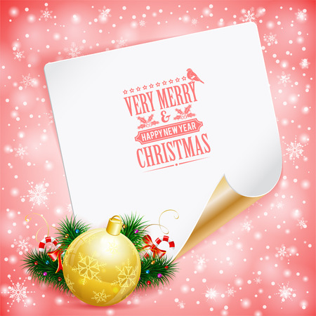 Christmas Greeting Card with Candy, Fir Branches, Bauble and Sheet of Paper on Bright background, vector illustration. Vector