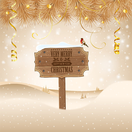 gold plaque: Christmas background with Wooden Plaque, Fir Branches and Bullfinch. Vector Template for Cover, Flyer, Brochure.