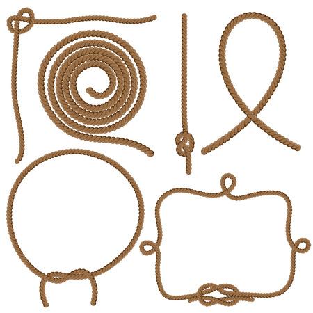 nudos: Set Cuerdas, Nudos y Marcos. Vector aislado en el fondo blanco.
