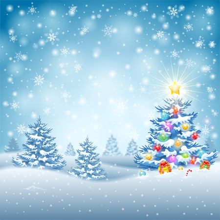 Christmas Background with Tree, Baubles, Gifts, Candy and Star on Snowy background. Vector