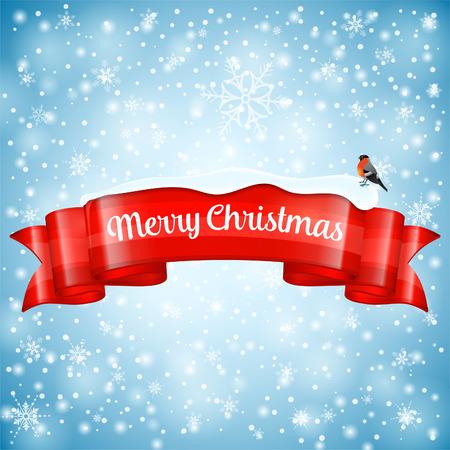 bullfinch: Christmas Greeting Card with Ribbon, Snowflakes and Bullfinch, vector illustration