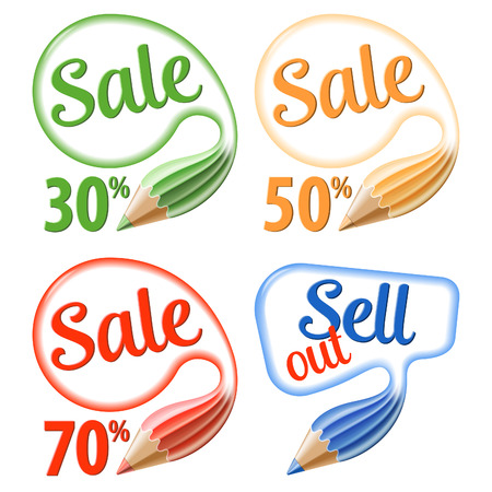 collect: Collect Pencils and Speech Bubbles with Sale - Business Concept. Vector isolated on white background.