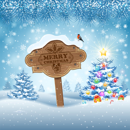 Christmas background with Wooden Sign, Tree, Fir Branches and Bullfinch. Vector Template for Cover, Flyer, Brochure, Greeting Card. Vector