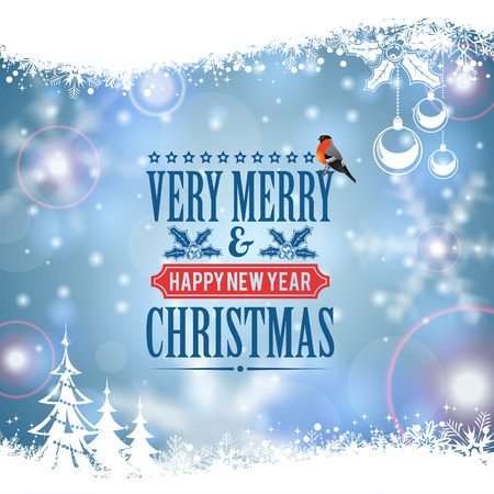 blue christmas background: Christmas Frame with Retro Label, Tree, Bullfinch, Bauble and Snowflake on Blurred Bokeh Background. Vector Template for Flyers and Brochure. Illustration