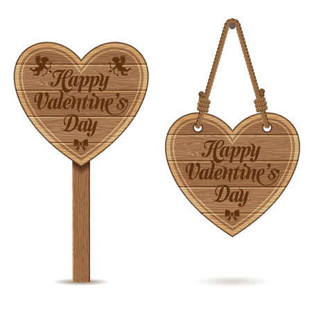 collect: Collect Valentines Day Wooden Sign Heart. Vector isolated on white background. Illustration