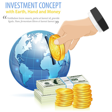 Investment Concept with Money, Hand and Earth, vector icon isolated on white Vector