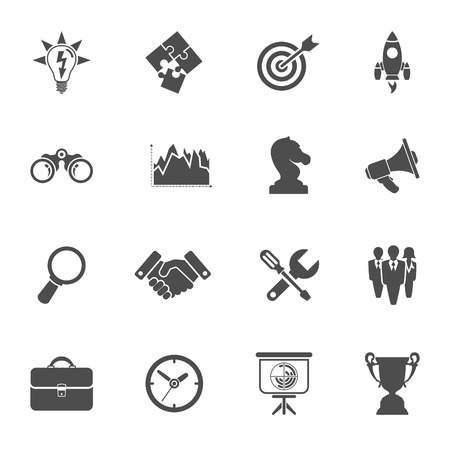 handshake icon: Business Icon Set - Finance, Strategy, Idea, Research, Teamwork, Success. Vector isolated on white background Illustration