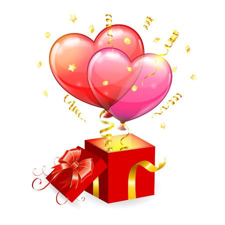 taking off: Concepto para el D�a de San Valent�n con los corazones globos, que despegaba de caja de regalo con arco, vector aislado en el fondo blanco