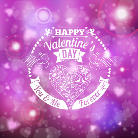 Happy Valentines Day Card with Retro Label, Heart, Ribbon and Cupids on Blurred Bokeh Background. Vector