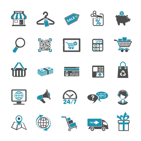 shopping cart online shop: Internet Shopping Icon Set for e-commerce in two color Illustration