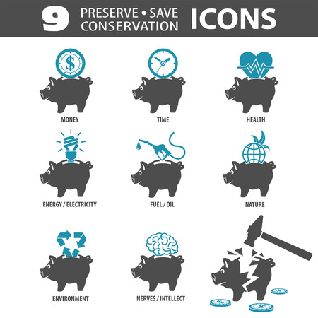 preserve: Set Preserve, Save, Conservation Icons with Piggy Bank and Money, Time. Vector isolated on white background. Illustration