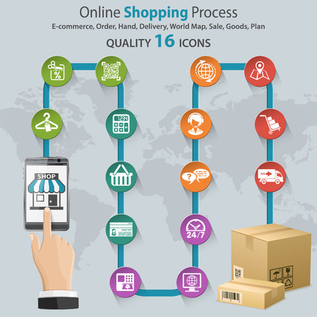 hand cart: Internet Shopping Infographic with Hand, Set Icons for e-commerce, Box and Earth Map. Illustration