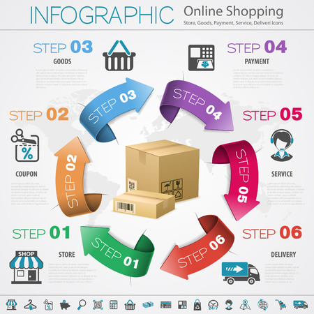 credit cart: Internet Online Shopping Infographic with Arrows, Set Icons for e-commerce, Box and Earth Map.
