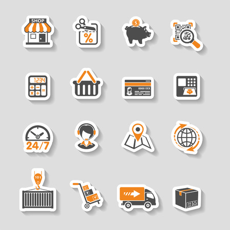 Internet Shopping, Delivery and Cargo Sticker Icon Set for e-commerce in two color Vector