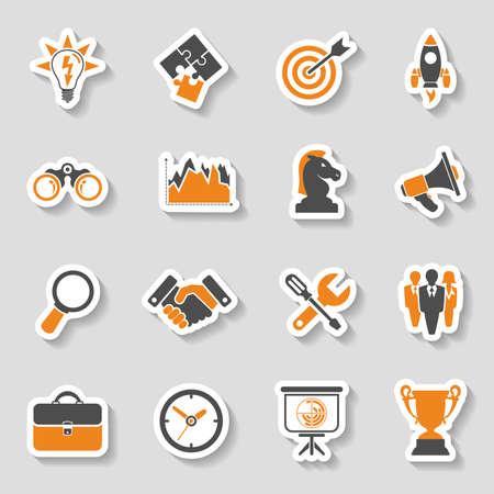 gestion empresarial: Negocios Sticker Icon Set - Finanzas, Estrategia, Idea, Investigaci�n, Trabajo en equipo, �xito. Vector en dos colores.