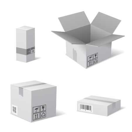 Open and Closed Cardboard Packaging Boxes with Recycling Icons. Vector isolated on white. Vector