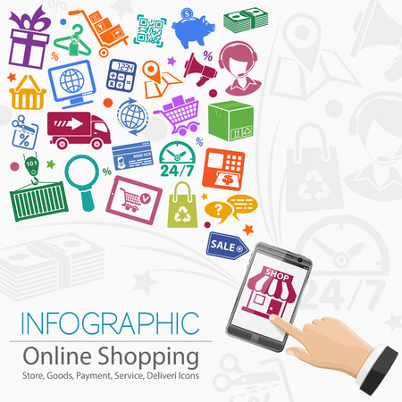 online icon: Internet Shopping Infographic with Hand, Set Icons for e-commerce, Box and Earth Map. Illustration
