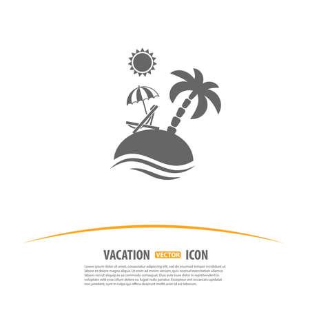 sonnenschirm: Reisen, Tourismus und Urlaub Logo-Design-Vorlage. Insel mit Palmen, Sonne, Sonnenschirm und Strandkorb-Symbol.