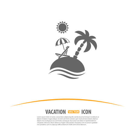island beach: Travel, Tourism and Vacation Logo Design Template. Island with Palms, Sun, Umbrella and Beach Chair icon. Illustration