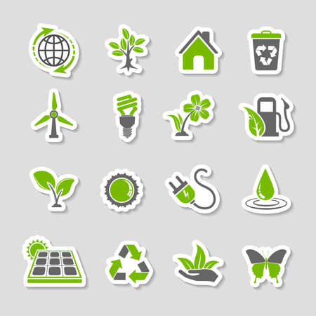 sun flowers: Collect Environment Icons Sticker Set with Tree, Leaf, Light Bulb, Recycling Symbol. Vector in two colours. Illustration