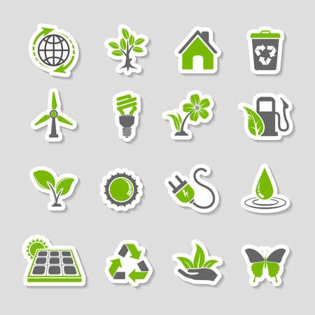 reciclar: Recoger Ambiente Sticker de iconos Set con �rbol, hoja, Bombilla, S�mbolo de reciclaje. Vector en dos colores.