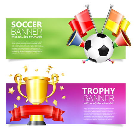 vuvuzela: Two Soccer Banners with Soccer Ball, Flags, vuvuzela, cup and ribbon in 3D Realistic Style. Can be used for web banners, flyer, poster and printing advertising. Vector Illustration.