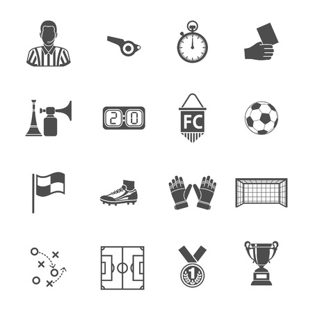 Soccer and Football Icon Set for Flyer, Poster, Web Site. Vector Illustration isolated on white.