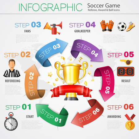 vuvuzela: Soccer and Football Infographics in Realistic 3D and Flat Style with Award, Ball and Referee Icons. Vector Illustration.
