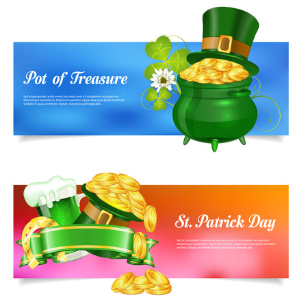 17th of march: St. Patrick Day Banners with Ribbon, Hat, Gold Coins, Horseshoe and Glass of Beer in 3D Realistic Style. Can be used for web banners, flyer, poster and printing advertising. Vector illustration.