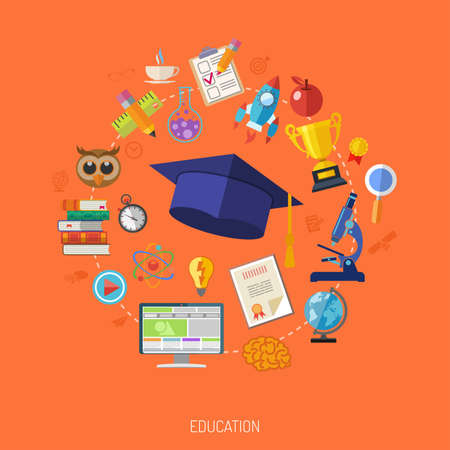 graduation cap: Online Education and E-learning Concept - Flat Icon Set for Flyer, Poster, Web Site. Vector Illustration. Illustration