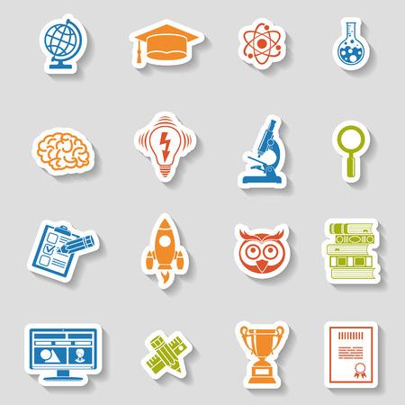 buho graduacion: Educaci�n en l�nea y el icono de E-learning de etiqueta fijada para folleto, cartel, del sitio Web. Ilustraci�n del vector.