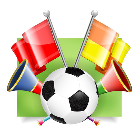 vuvuzela: Soccer Banner with Soccer Ball, Flags and Vuvuzela in 3D Realistic Style. Can be used for web banners, flyer, poster and printing advertising. Vector Illustration. Illustration