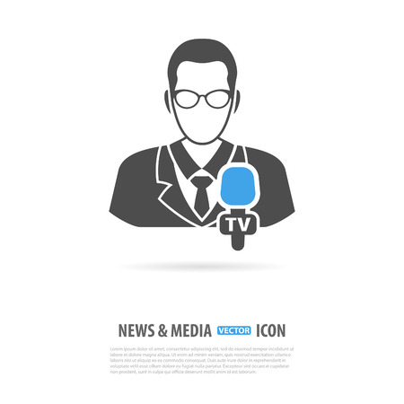 journalist: Media and News Design with Journalist and Microphone in two color. Vector isolated on white.