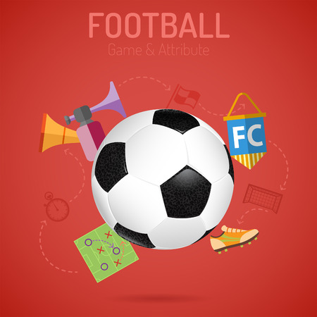 vuvuzela: Football Poster with Soccer Ball, Flags and Attributes Icons. 3D Realistic and Flat icons. Can be used for flyer, poster and printing advertising. Vector Illustration.