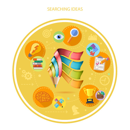 Process Searching Good Ideas - Business with Creative Pencil. 3D Realistic and Flat icons. Vector illustration. Vector