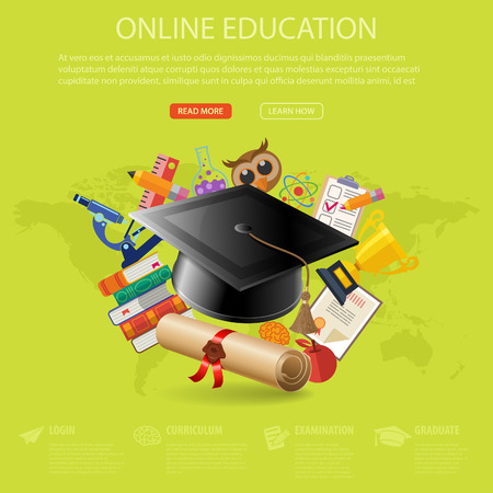 mortarboard: Online Education and E-learning Concept - Flat Icon Set with mortarboard, books, microscope for Flyer, Poster, Web Site. Vector Illustration. Illustration
