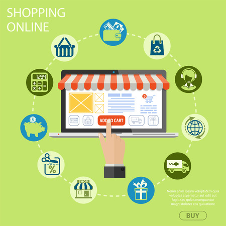 retail sales: Vector illustration in style flat different icons on theme of retail sales, marketing, online shopping, delivery of goods, such as shop, technical support, piggy bank, gift signs and symbols.