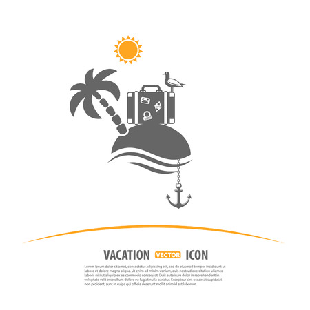 gulls: Travel, Tourism and Vacation Design Template. Island with Palms, Sun, suitcase, seagull and anchor icons Illustration