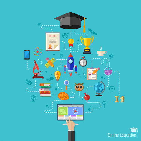 Online Education Vector Concept with Flat Icon Set for Flyer, Poster, Web Site Like mortarboard, books, hand and computer Illustration