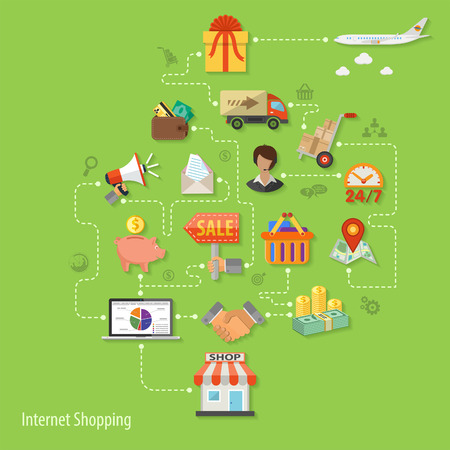 retail sales: Vector illustration in style flat different icons on theme of retail sales marketing online shopping, delivery of goods, such as megaphone, shop, technical support, piggy bank, cash signs and symbols Illustration