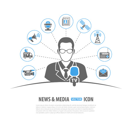 press news: Media and News Vector Concept with Icon set in two color such as Journalist Microphone Newspaper Camera Satellite Megaphone, may be used for Flyer, Poster, Web Site